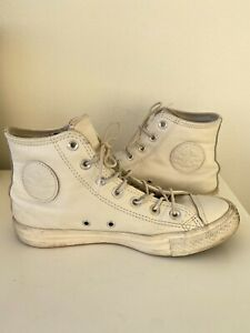 Total white leather converse high tops chuck taylors mens 6 womens 8 eur 39