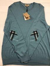 New Authentic Burberry Cashmere Men Green Sweater Elbow Logo Nova Plaid XXL $395