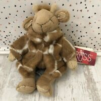 """WITH TAGS Russ Berrie Gisella Small Giraffe Wearing Fur Coat Soft Toy 7"""""""