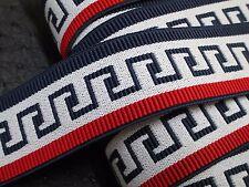 """2 yard 1 1/2"""" width in blue, red&gray color heavy duty greek key pattern elastic"""