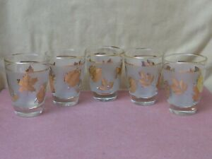 5 Gold Leaf Frosted Glasses Lowball Liqueur Vintage MCM