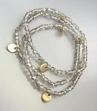 CHIC Artisanal 3 Smoky Gray Czech Crystals Gold Disks Stretch Bracelet