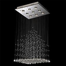 NEW Modern 9-Light Square Pyramid Crystal Ceiling Light Rain Drop Evrosvet