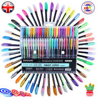 UK 48 Gel Pen Set Metallic Pastel Glitter Neon Gel Pens for Adult Colouring Book