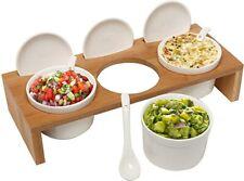 (3 Pcs) 3.5-Inch Ceramic Condiment Dip Sauce Ramekins Set w/Lids & Spoons on .
