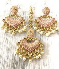 Jhumka Indian Jewelry Tikka Jhumka Pakistani Earrings Bollywood Kundan Pink Set