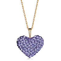 """10K Yellow Gold Swarovski Crystal Elements Heart Pendant Necklace with 18"""" Chain"""