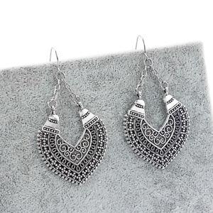 Tibetan Silver Heart Earrings Ethnic Gypsy Jewellery Hippy Boho Dangle Earring