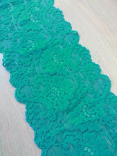 "1 Metre Teal and Hotpink Stretch Floral Scallop Lace Edge Trim 5""/12.5cm Wide"