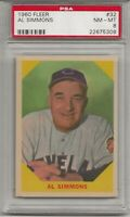 1960 FLEER #32 AL SIMMONS, PSA 8 NM-MT, HOF,  CLEVELAND INDIANS, L@@K