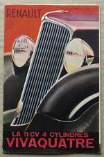 RENAULT 11CV VIVAQUATRE Car Sales Brochure 1933-34 FRENCH TEXT #VT 219.8.33