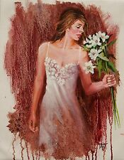 Romantic Girl Flowers Lingerie Original IMPRESSIONISM Oil Painting Yary Dluhos