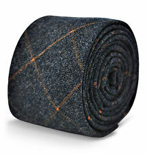 Frederick Thomas homme laine tweed cravate en bleu marine/gris avec orange carreaux FT3118