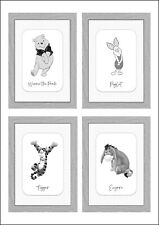 Winnie the Pooh Nursery Decoration New Baby Gift Set of 4 Prints A4 Portrait
