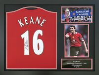 FRAMED RARE ROY KEANE SIGNED MANCHESTER UNITED FOOTBALL SHIRT WITH COA & PROOF