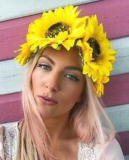 Yellow Sunflower Big Flower Crown Hair Head Band Choochie Bohemian Boho Bridal