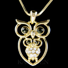 Mother Love Baby Owl Family Brid Made with Swarovski Crystal Gold Tone Necklace