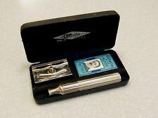 Vintage Gillette HEAVY Pre-War TECH DE Safety Razor Set in Case 1938 - 41