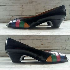 Vintage 1980's Black Patent Italian Leather Open Toe Shoes by Rossetti. Size 2.