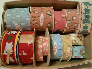 100 YDS Vtg Offray Trimming Ribbon Lot Sheep Geese Bears Pink Blue Red Yellow