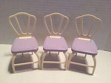 Barbie Mattel Happy Family Purple White Kitchen Chair Lot Doll House Furniture