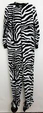 Nick & Nora Pajamas Sleepwear One-Piece Footed Footie Animal Print Zebra Size S