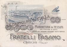 CARTOLINA  TORINO-  CHIERI, COMMERCIALE FRATELLI FASANO-MANIFATTURA DI TESSUTI