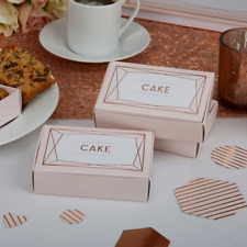 Rose Gold And Pink Wedding Cake Boxes x 10