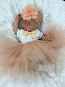 REBORN DOLL HEAVY BABY GIRL PEACH TUTU OUTFIT MAGNETIC DUMMY L