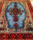 5X7 Antique  Persiann Esphahan handmade Area Rug Silk Pile Blue