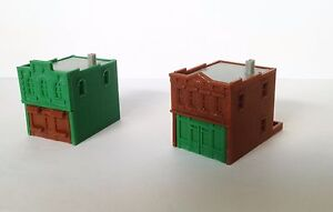 Outland Models Train Railway Shop / Store Building x2 (Brown & Green) N Scale
