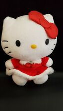 """Hello Kitty TY Beanie Babies Baby Red Holiday Dress Plush Red Glitter Bow 6"""""""