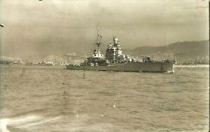 SS GORIZIA ITALIAN ZARA CLASS BATTLESHIP AROUND 1938 REAL PHOTO POSTCARD