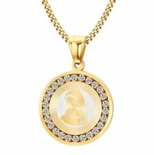 Fashion Gold Christian Blessed Virgin Mary Diamond-set Pendant Necklace Jewelry