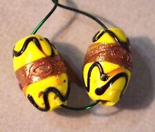 Antique Venetian Yellow Lampwork Italian Wedding Cake Beads, African Trade Beads