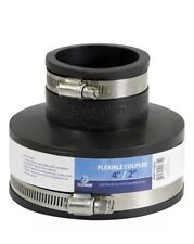 """Everflow 4""""x 2"""" Flexible Reducing PVC Coupling w/ Stain. Steel Clamps Pack Of 10"""