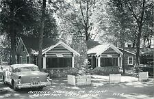 A View of Benton's Shangri-La Resort, 50's Auto, Houghton Lake MI RPPC