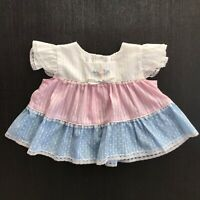 True Vintage Colorful Pleated Polka Dots Cap Sleeves Dress Size 12-18 Months