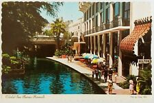 Colorful SAN ANTONIO River Walk Texas Postcard Bridge Tree Boat Hilton people