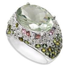 De Buman 9K White Gold 9.6ct Green Amethyst with Diamond Ring, Size 8.75