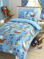 Sea Pirates ship Treasure Quest Kids Boys Duvet Quilt Cover Bedding Bed Set Blue