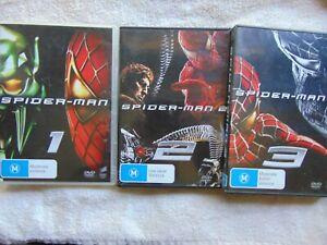 Spider-man 1 + 2 + 3 - Tobey Maguire - Region 4 - 3 DVD - FREE POST