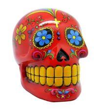 Red Sugar Skull Mexican Day of the Dead Dia de Los Muertos Coin Bank