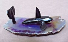 Zuni One of A Kind Jet & Multi-stone Whale in Water by Jon Quam - C1370