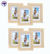 "6 Natural Picture Frames 8""x10"" (20 x 25cm) + Mat for 5""x7"" (13cm x18cm) photos"
