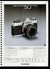 Factory 1978 Olympus Zuiko Macro 50mm F3.5 Camera Lens Dealer Data Sheet Page