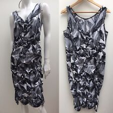 Motto Australia sz 18 Black & White Sleeveless Stretch Twist Detail Dress AS NEW