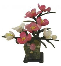 Chinese Jade Peony Flower Bouquet with Jade Vase Plant