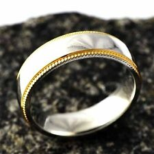 Unique Gold Filled Golden Edge Unisex Promise Love Band Ring Size 8-12