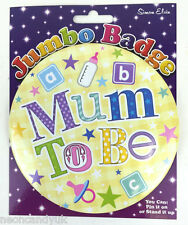 "Jumbo Baby Shower Badge - Mum To Be New Mummy - Birth Games Gift Pink 6"" Large"